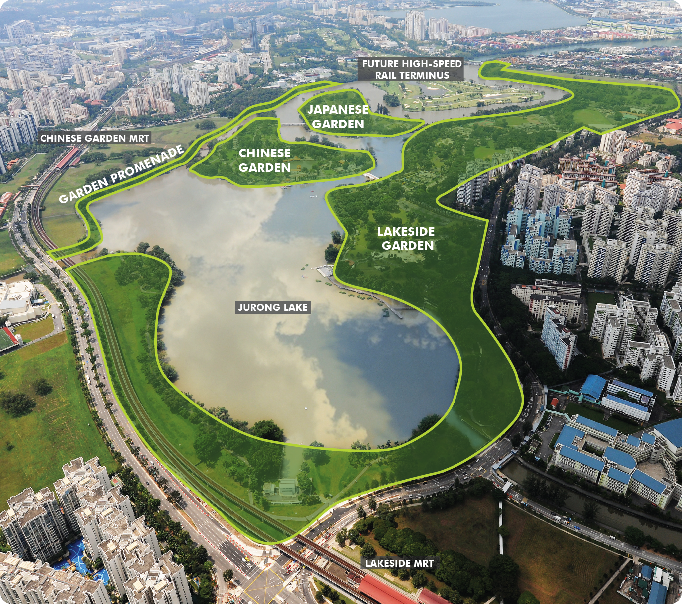 Bird's eye view of Jurong Lake Gardens