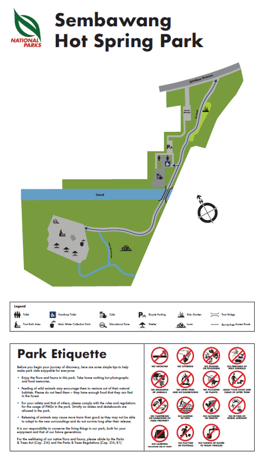 Map of Sembawang Hot Spring Park