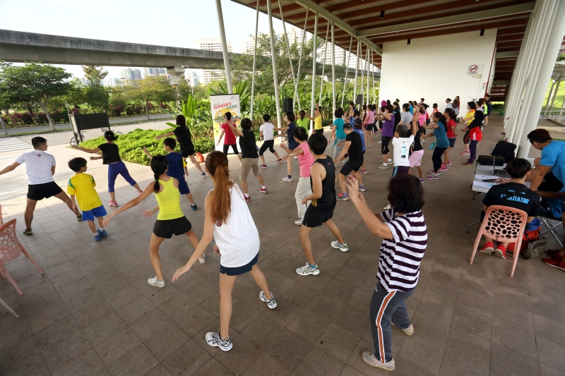 Exercise at Sengkang Riverside Park
