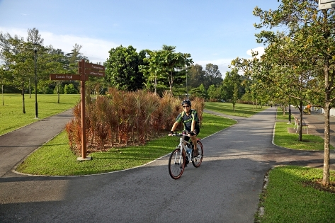 Cycling at Woodlands Waterfront Park