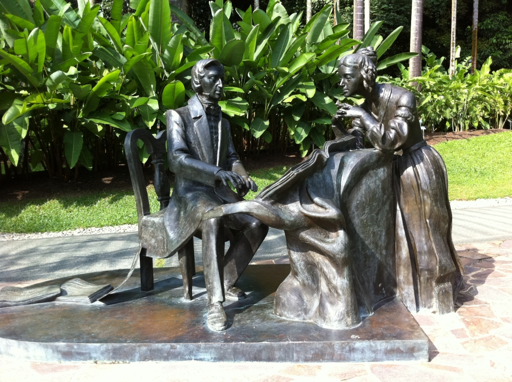Image of Chopin sculpture, located near the Heliconia Walk and Upper Palm Valley.