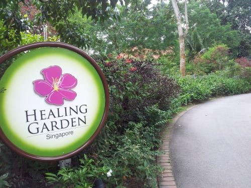 Image of the entrance signage at Healing Garden.