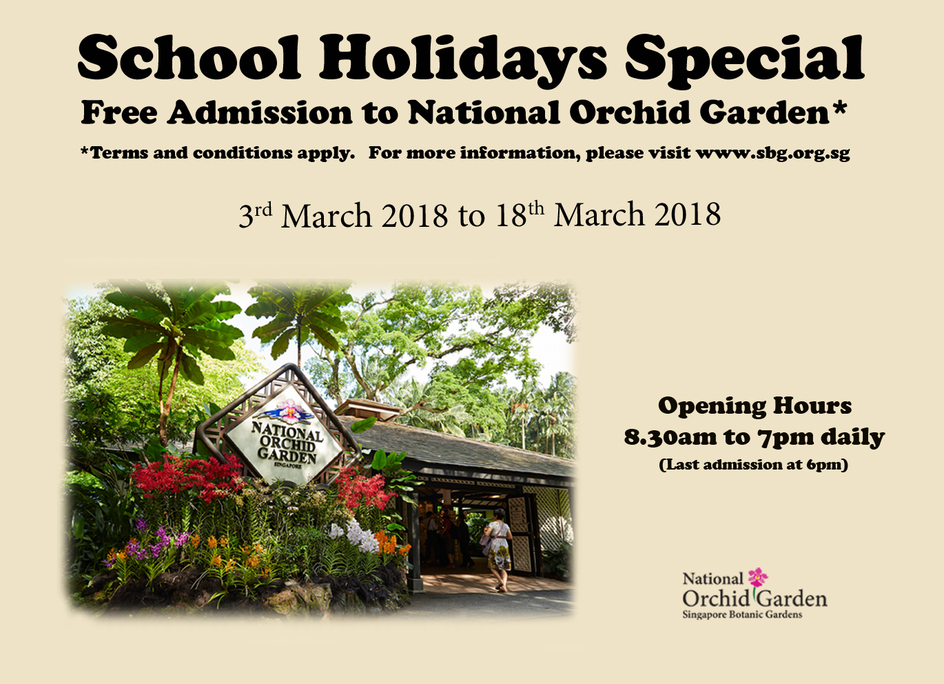 Poster for free admission to national orchid garden for students, PR and work permit holders