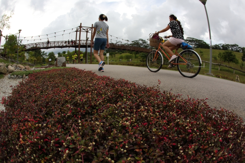 Cycling at Punggol Waterway Park